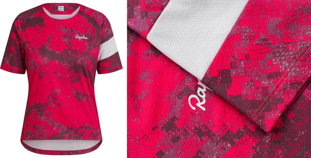womnes rapha mtb jerseys short sleeve tshirt pink digital woodland limited edition