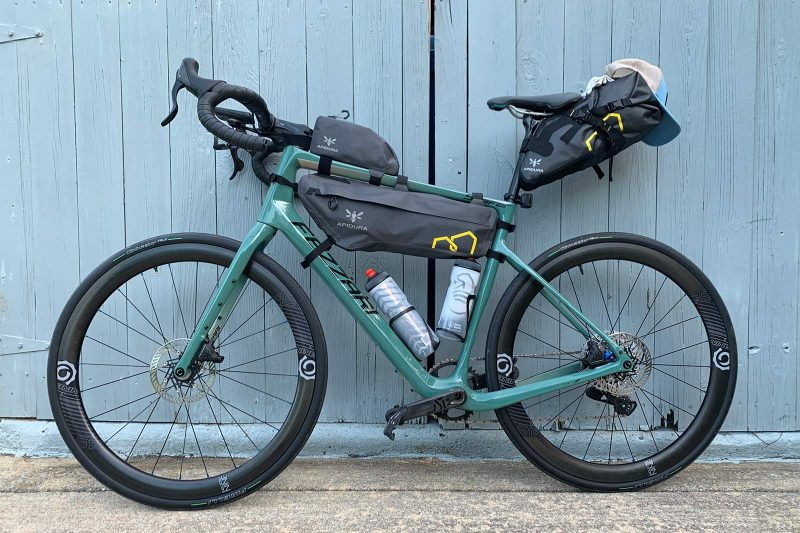 apidura expedition bikepacking bags installed on a gravel bike