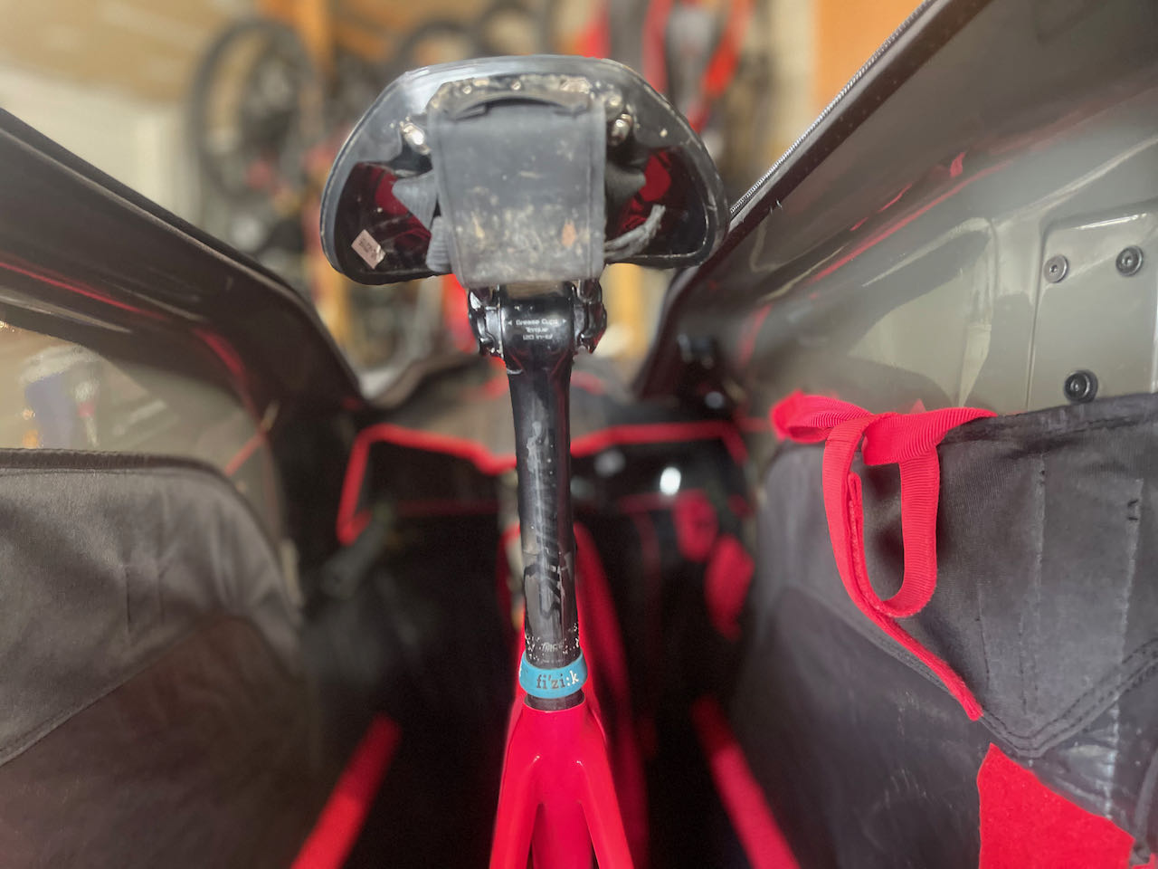 EVOCs Road Bike Bag Pro saddle view of full bag