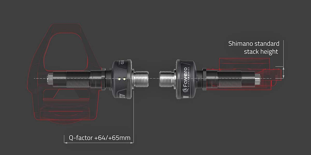 Favero Assioma DUO-Shi Shimano SPD-SL compatible road power meter pedal spindle kit, Q-facto & stack heightr