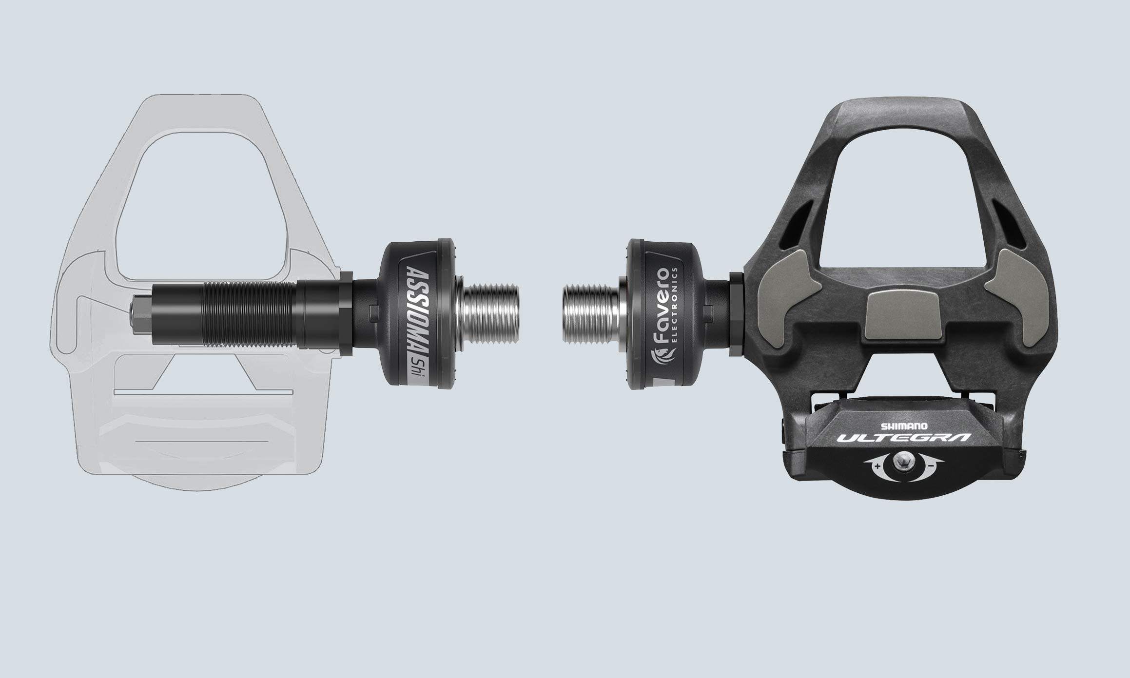 Favero Assioma DUO-Shi Shimano SPD-SL compatible road power meter pedal spindle kit, composite