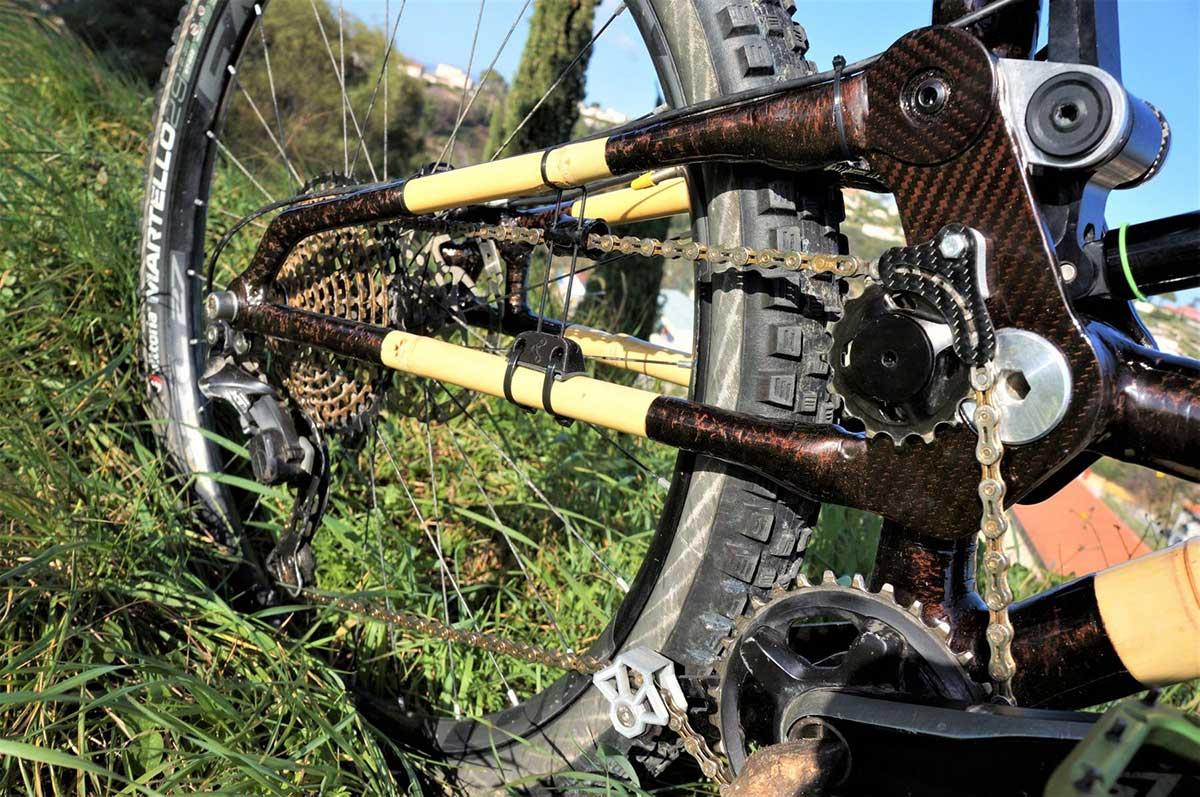earthbound high pivot bamboo bike swingarm