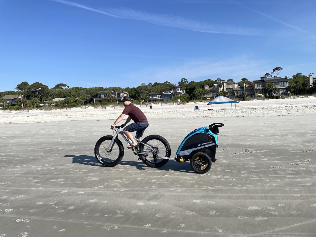 Burley child trailer on fat bike