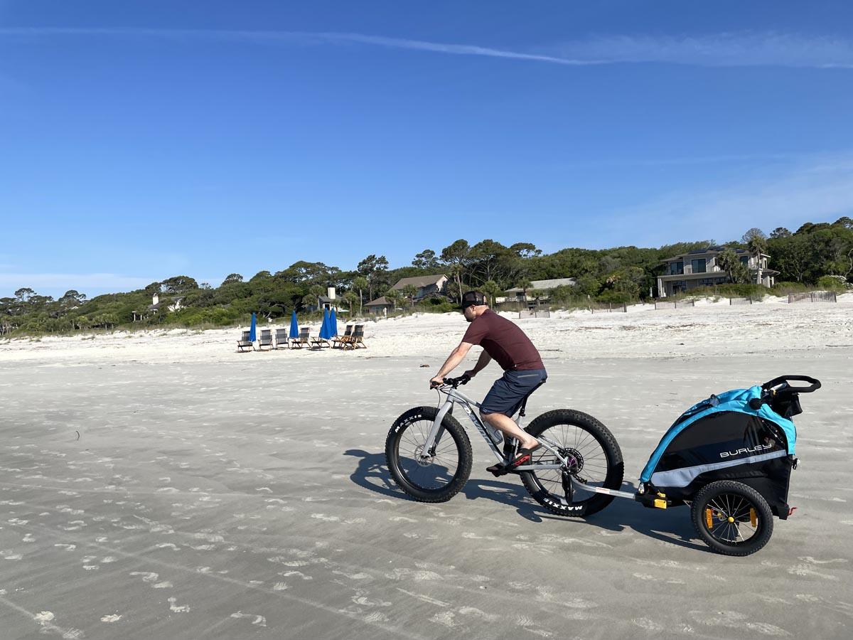 Burley kids bike trailer for the beach