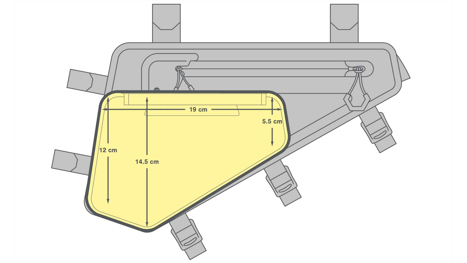 Apidura 1.5L frame Pack Hydration Bladder, Innovation Lab bikepacking frame pack water bag, dimensions