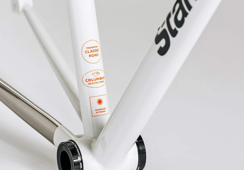 Standert Triebwerk CR classic lightweight steel rim brake road bike, Columbus frame detail