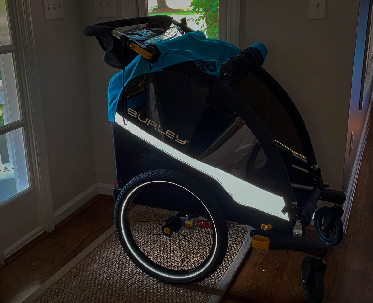 Reflective accents on child trailer