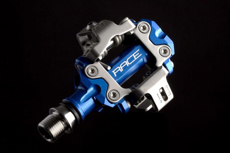 hope union clipless pedal mtb race rc model blue 55mm q-factor titanium axle