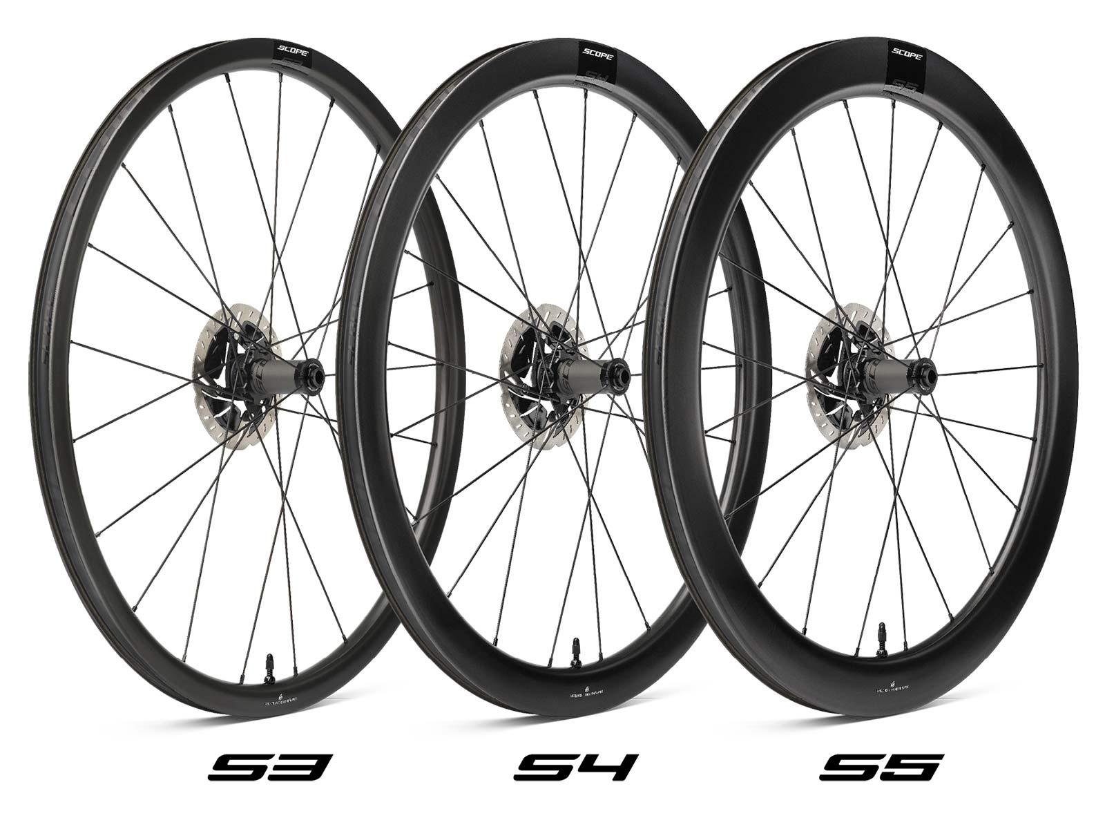 Scope Sport affordable carbon tubeless road wheels, 998€ for rim or disc brakes, 3 depths
