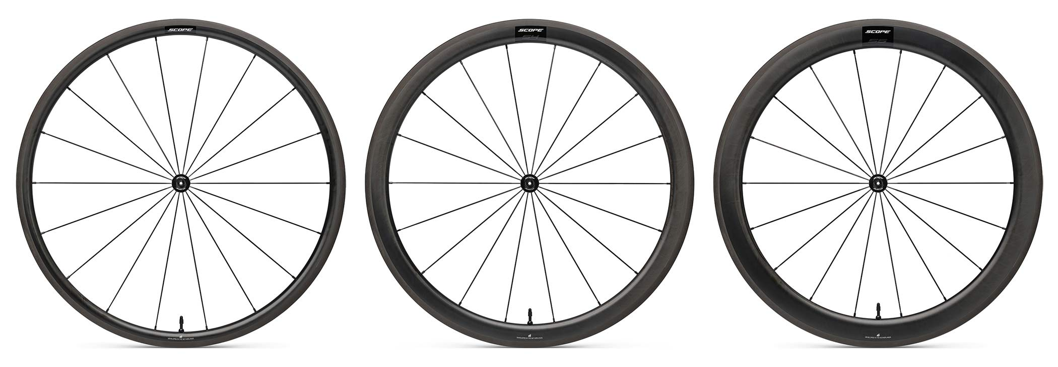 Scope Sport affordable carbon tubeless road wheels, 998€ for rim or disc brakes, three depths