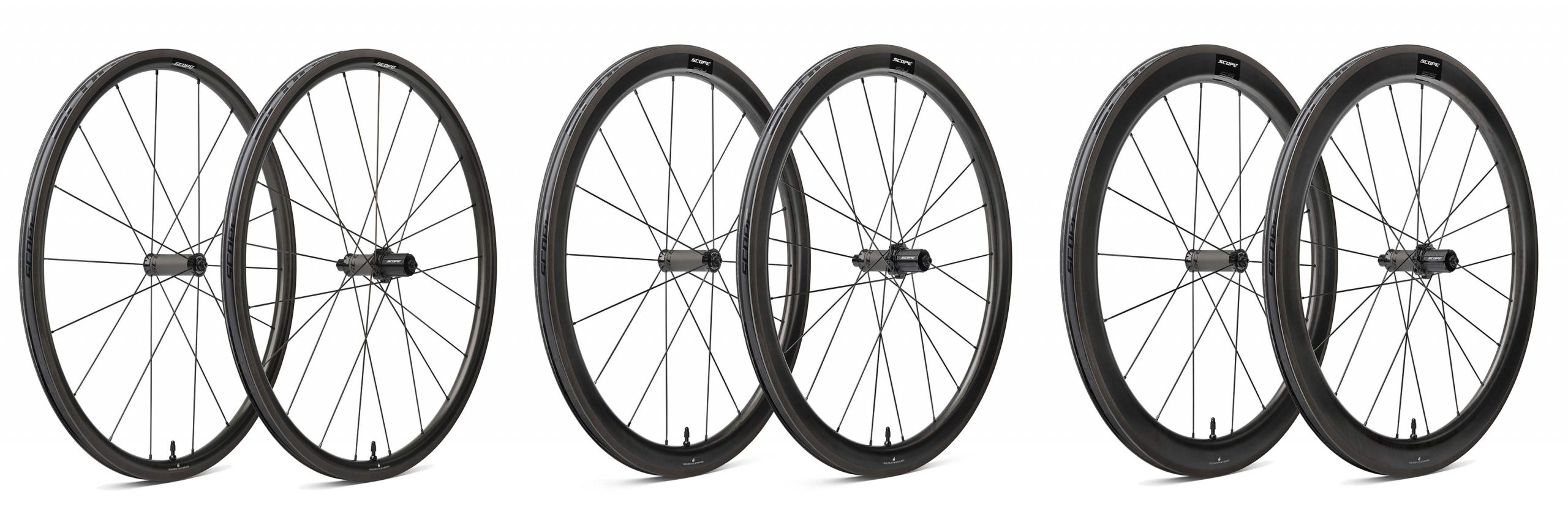Scope Sport S3 S4 S5 affordable carbon tubeless road wheels, 998€ for rim brakes