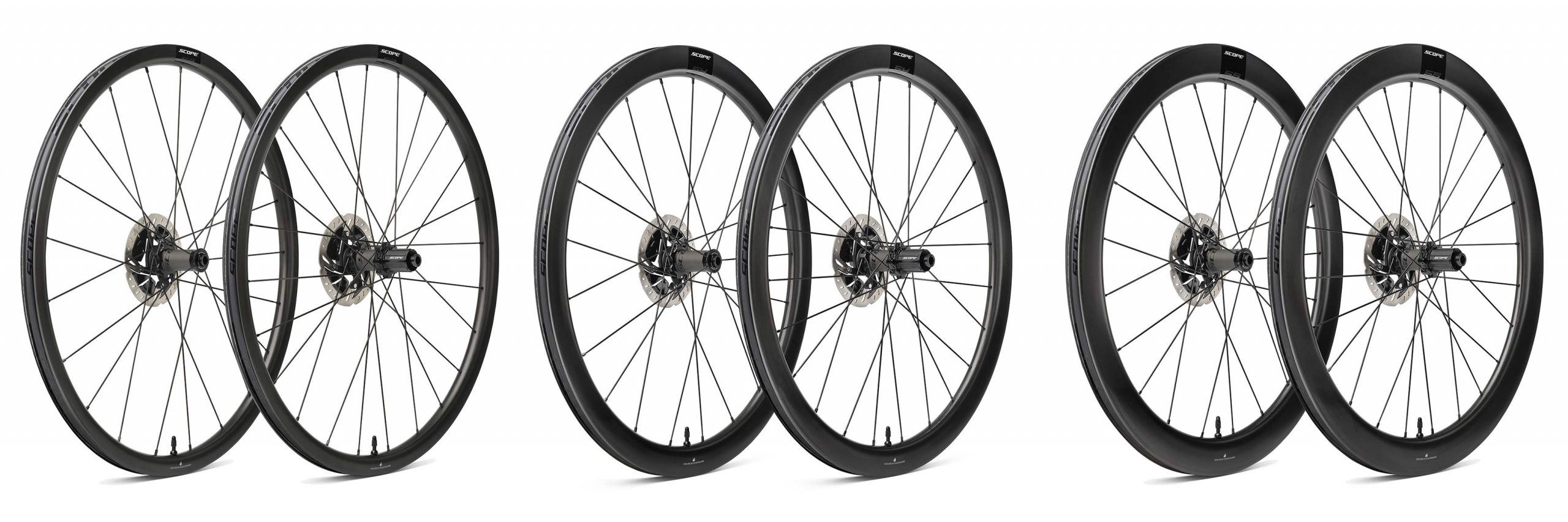 Scope Sport S3 S4 S5 affordable carbon tubeless road wheels, 998€ for disc brakes