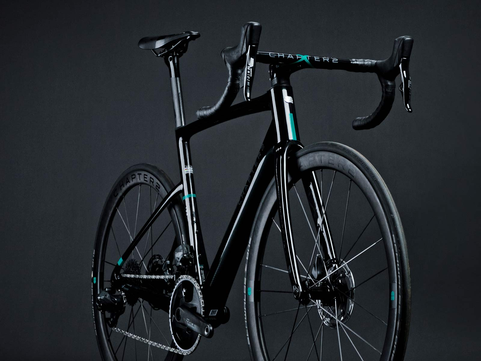Chapter2 TOA all-road bike, fully integrated versatile aero carbon road bike, black angled complete