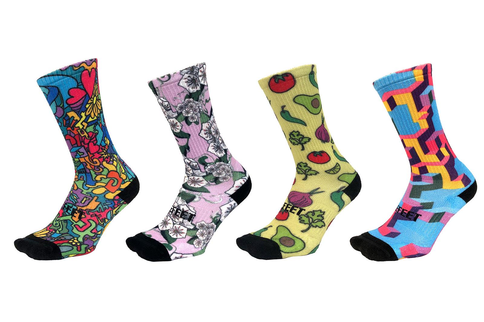 custom sock design examples from DeFeet PrintMySock custom sock designer