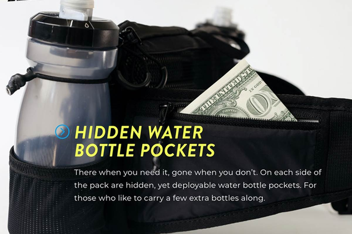 drankful mtb hip pack two hidden water bottle storage pockets full size extra hydration