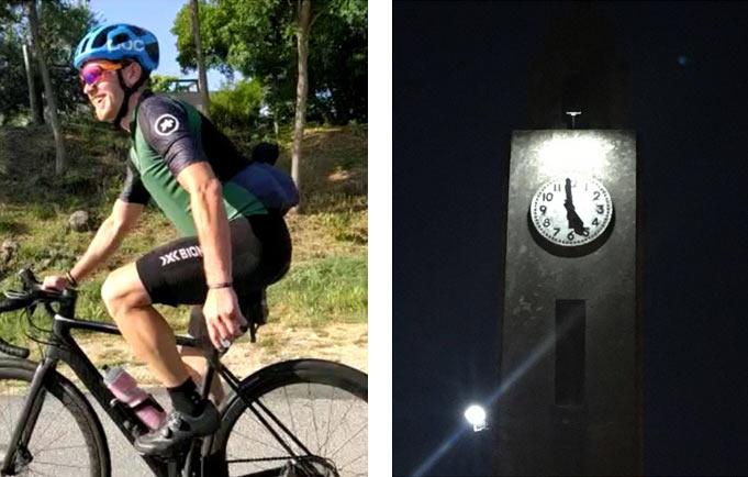 gabriele boassa riding his bike during everesting challenge