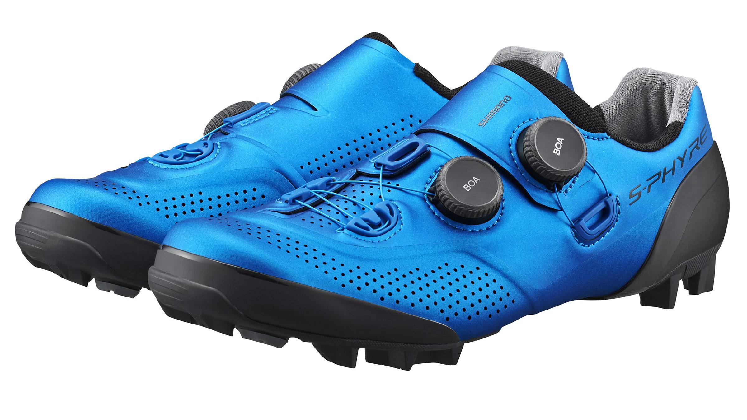 Shimano S-Phyre XC902 MTB shoes, next-gen XC9 cross-country mountain bike shoe,blue pair