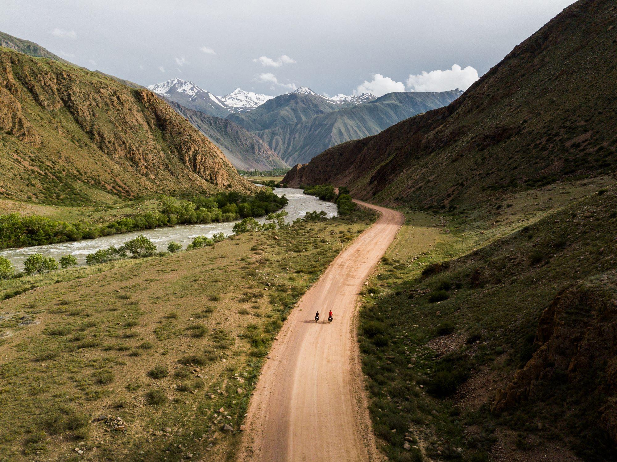 bike touring mountains kyrgyzstan