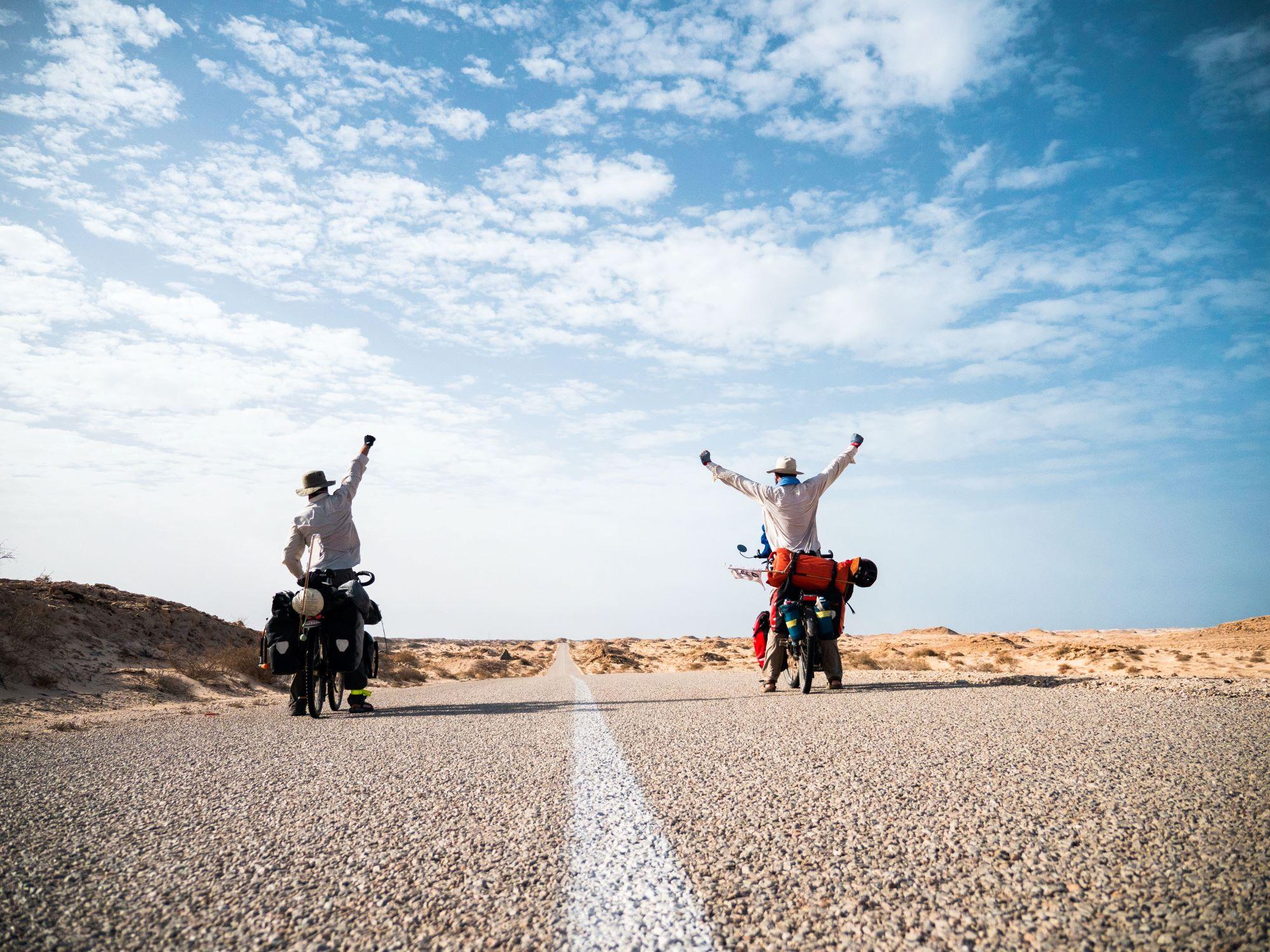 bike touring road sky