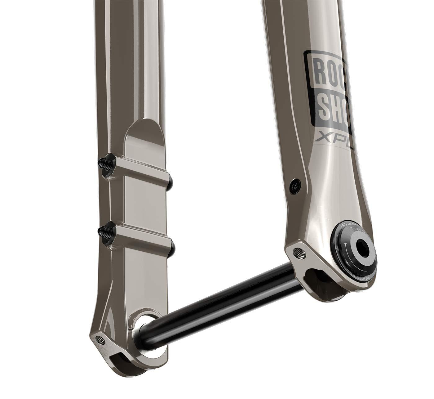 closeup details of the 2022 rockshox rudy gravel bike suspension fork