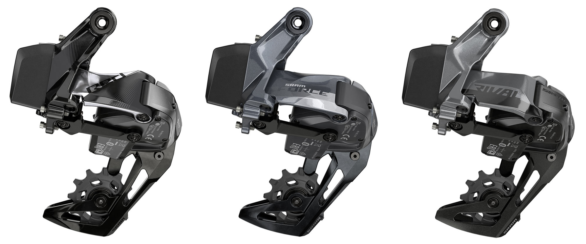 red force and rival xplr wireless rear derailleurs for 1x gravel bikes with wide range cassettes