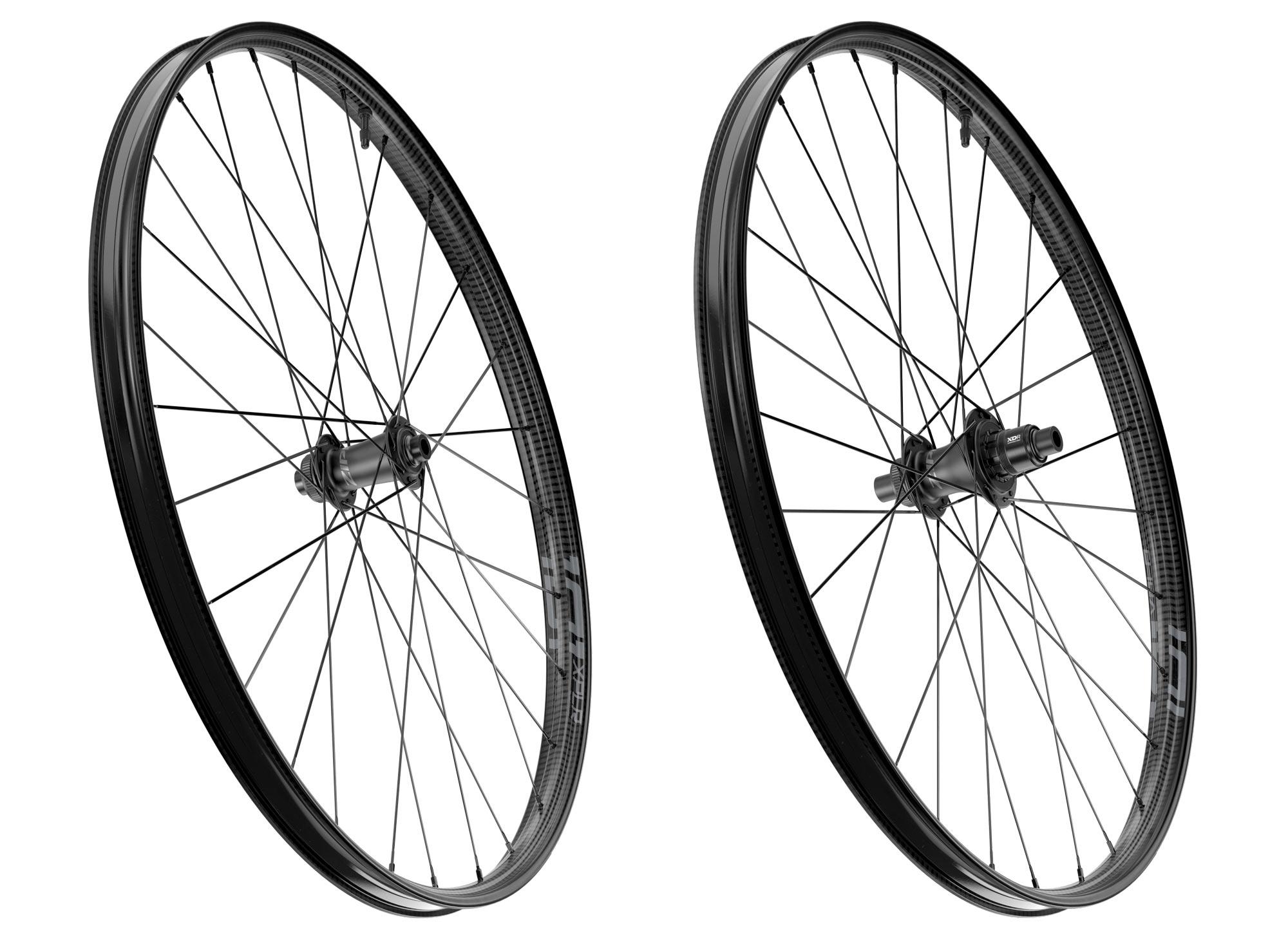 zipp 101 xplr gravel bike wheels studio shot showing front and rear