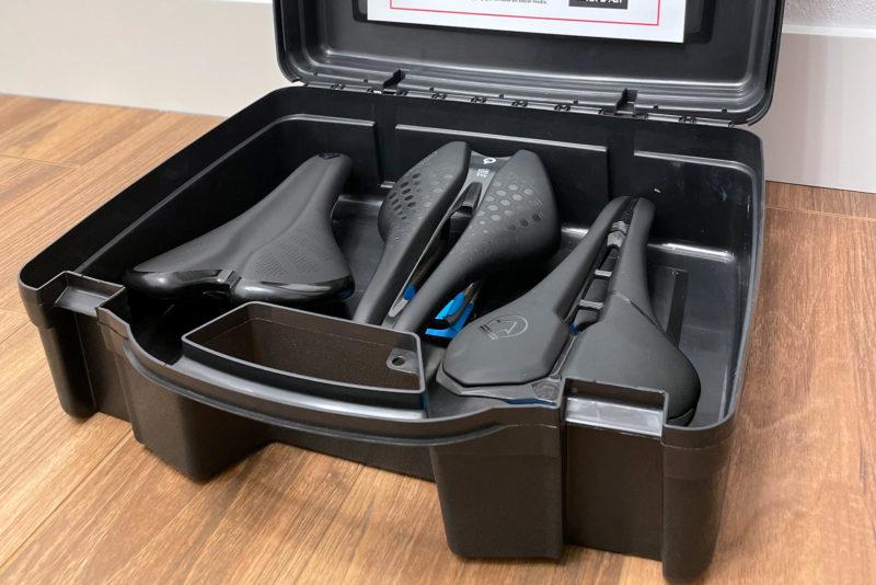 bike saddle box at home bicycle seat demo packaging with three saddles