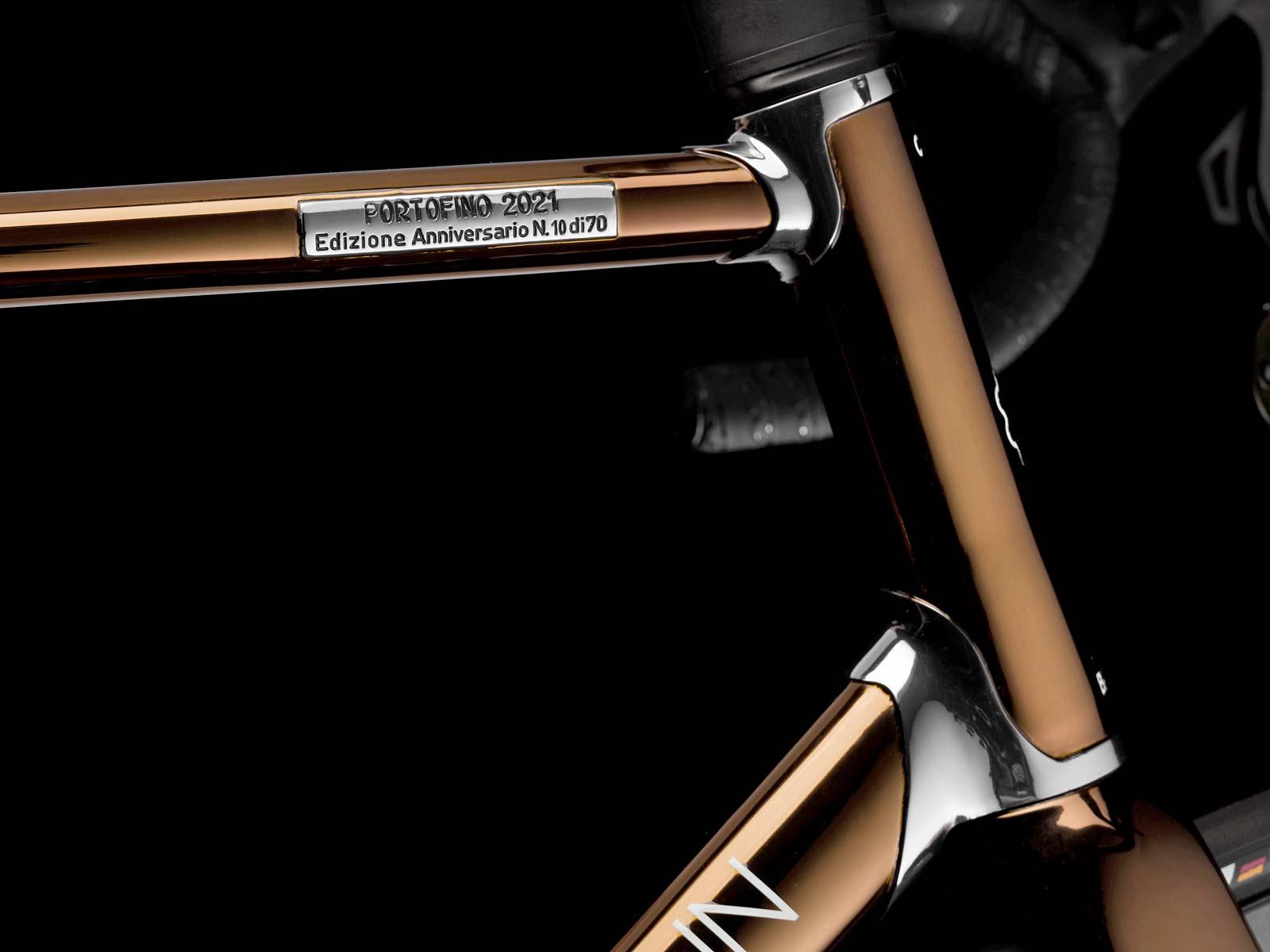 2021 Battaglin Portofino Edizione Anniversario road bike, handmade Italian modern lugged steel road bike with full internal routing,limited edition number plate