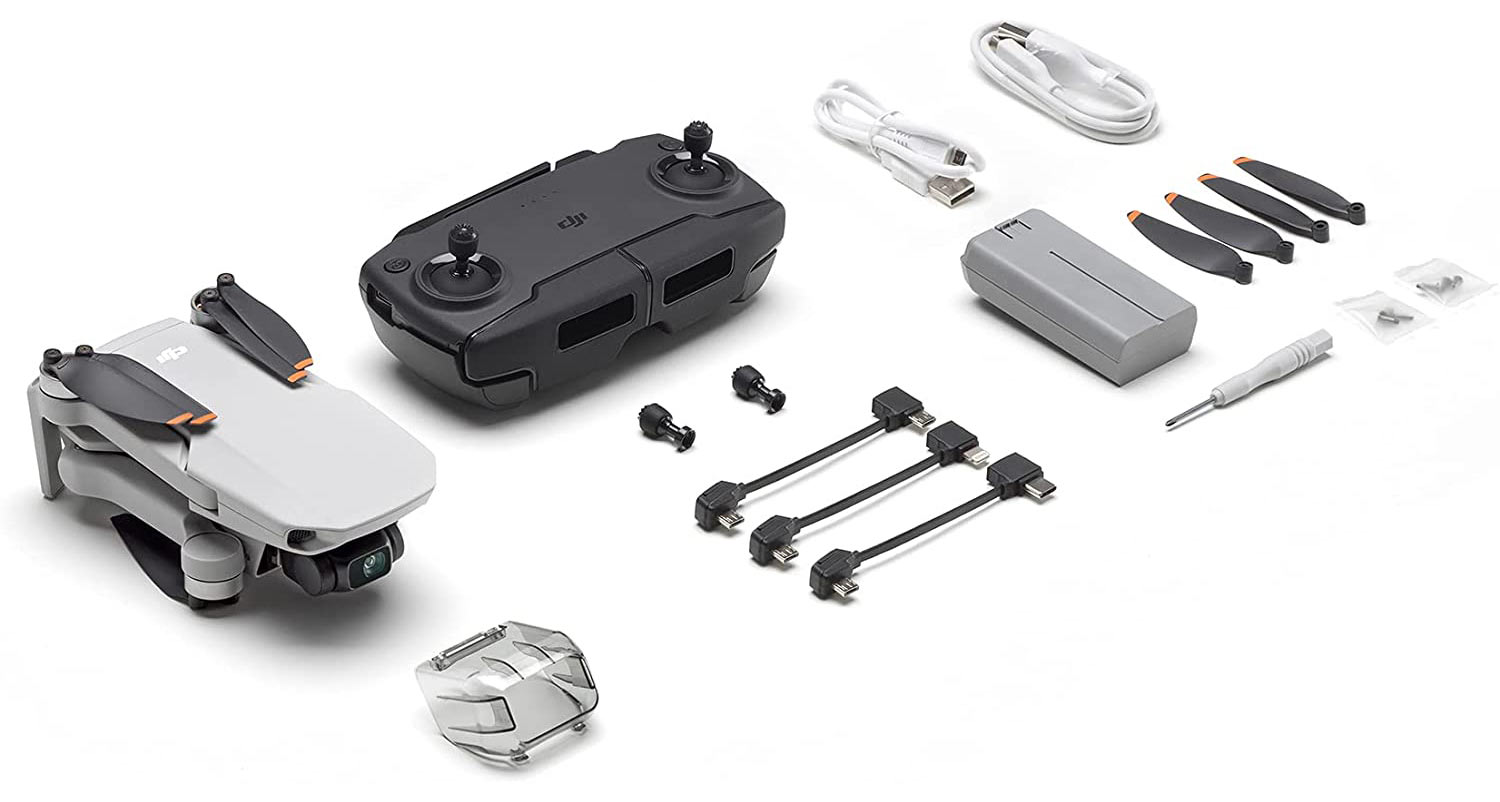 dji mini se drone box contents show what is included