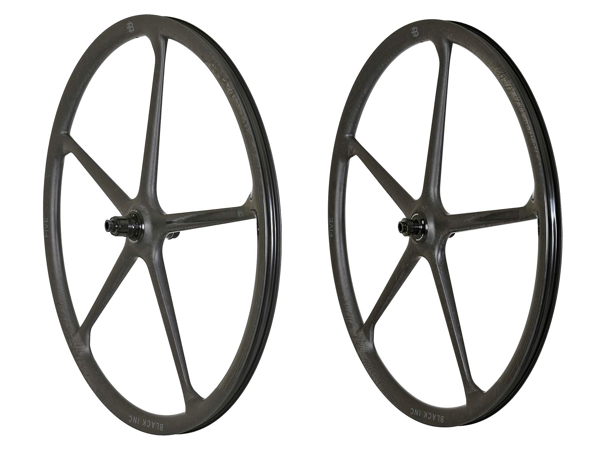 Black Inc FIVE aero carbon 5-spoke tubeless disc brake road bike wheels,angled pair
