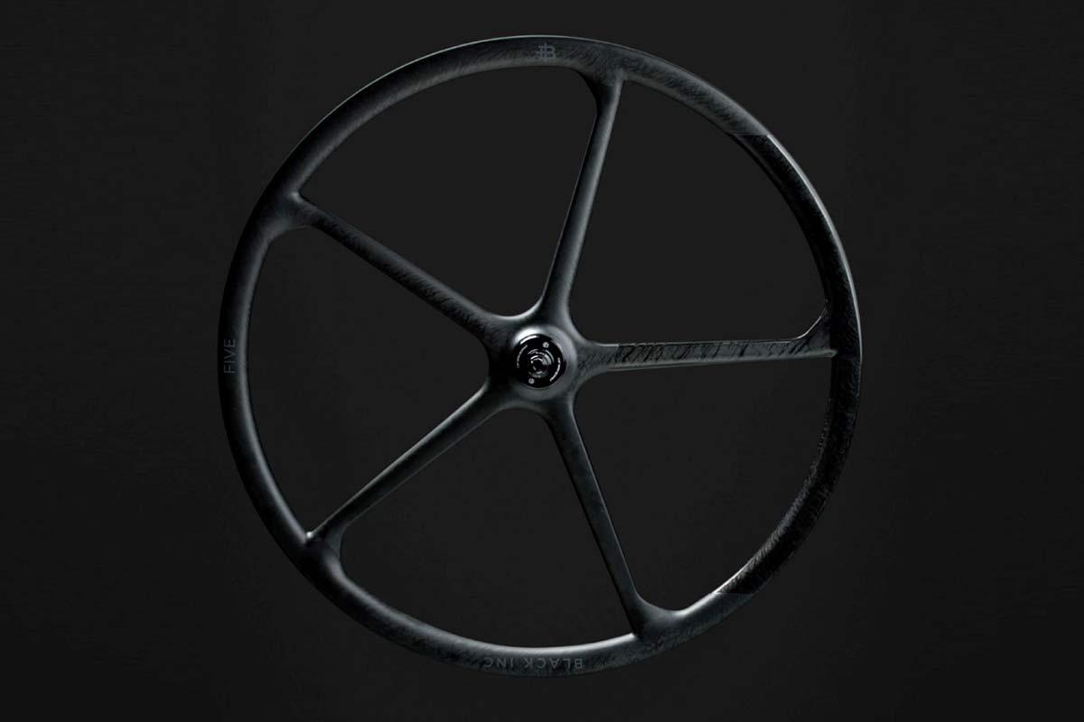 Black Inc FIVE aero carbon 5-spoke tubeless disc brake road bike wheels,black