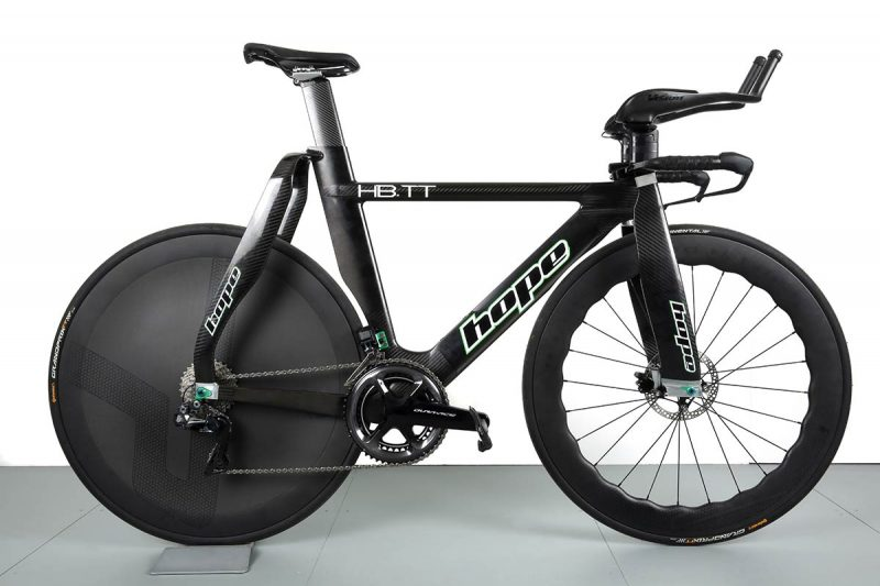 hope hb.tt road worthy aerodynamic time trial bike with 8cm wide fork legs carbon everything