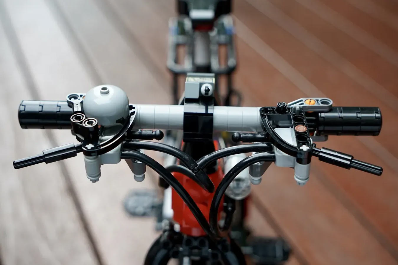 lego bicycle handlebar with bell and brake levers