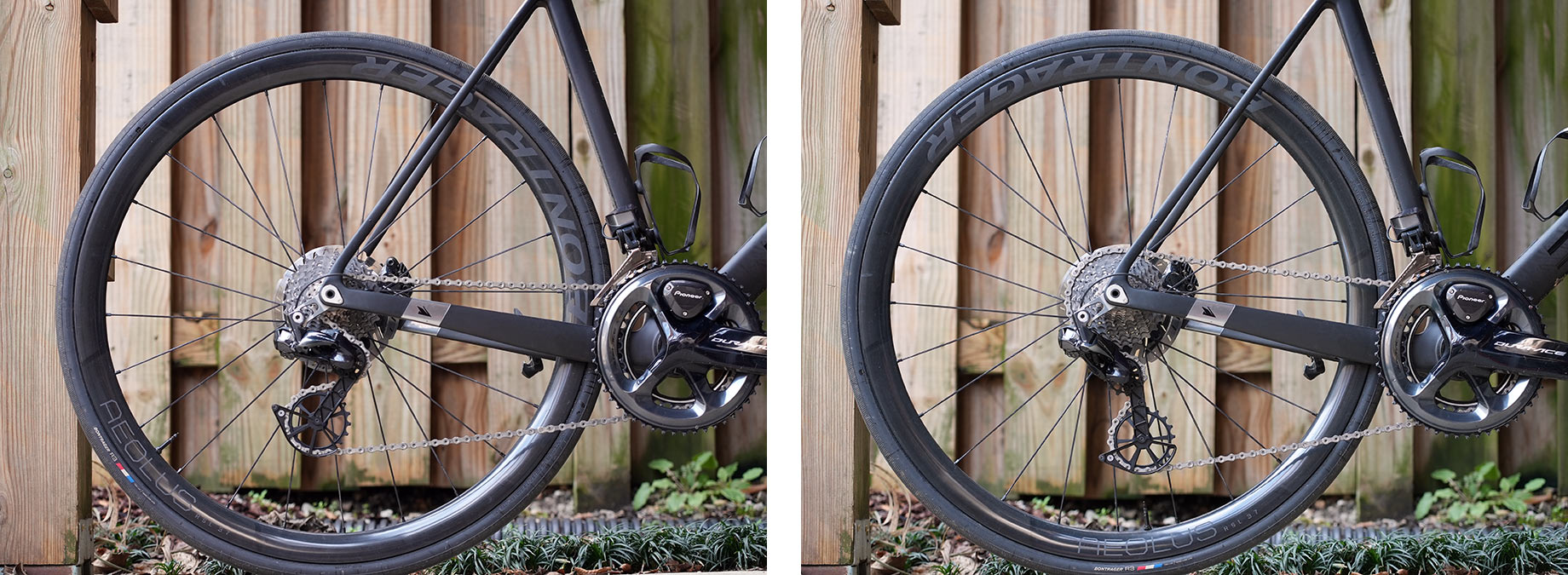chain length and derailleur position comparison after installing an oversize pulley cage