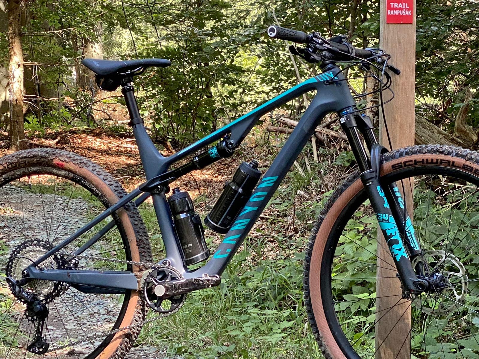 Canyon Lux Trail, a slightly longer travel downcountry XC marathon light trail mountain bike review, frame angled