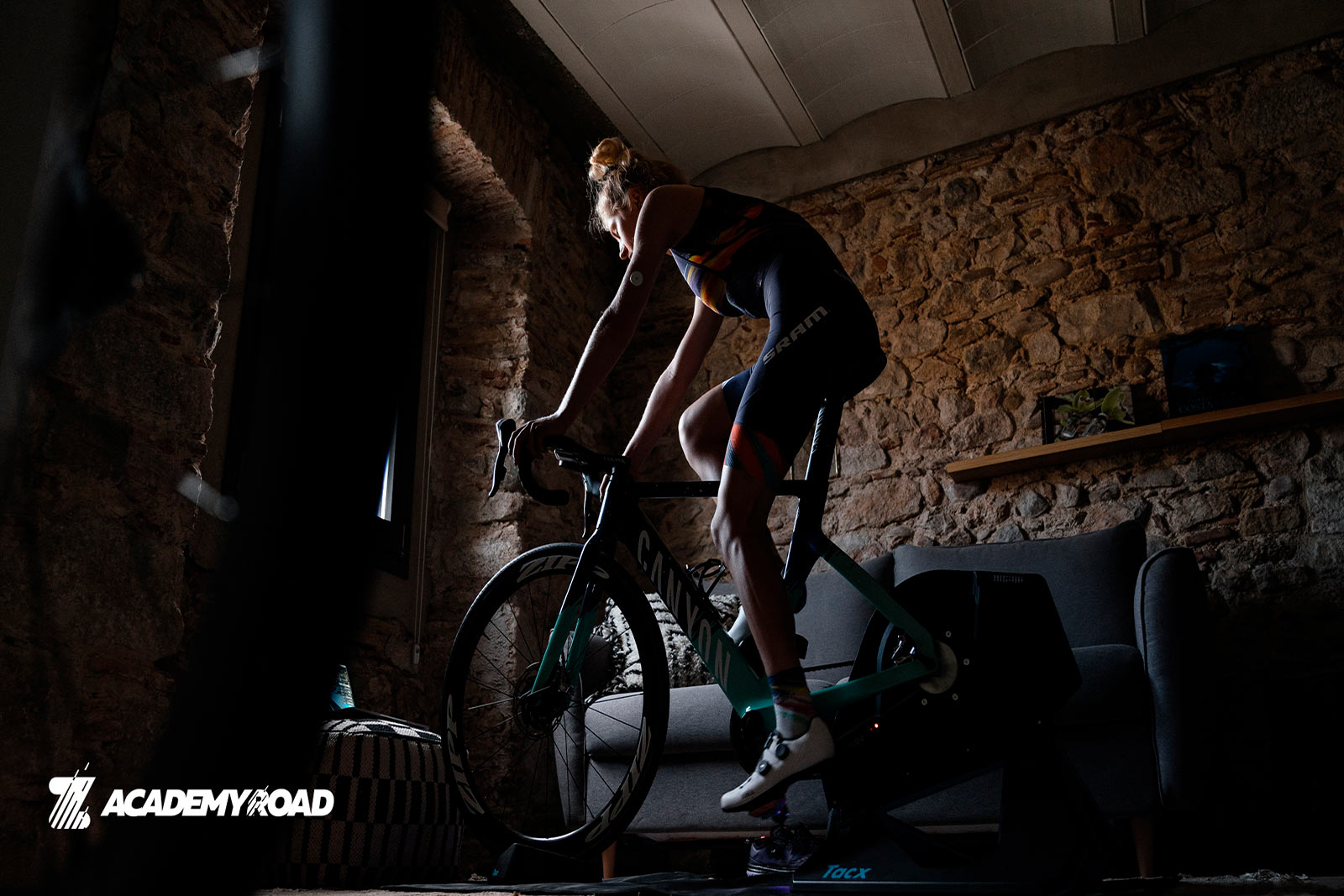Zwift Academy female rider dressed in Canyon SRAM