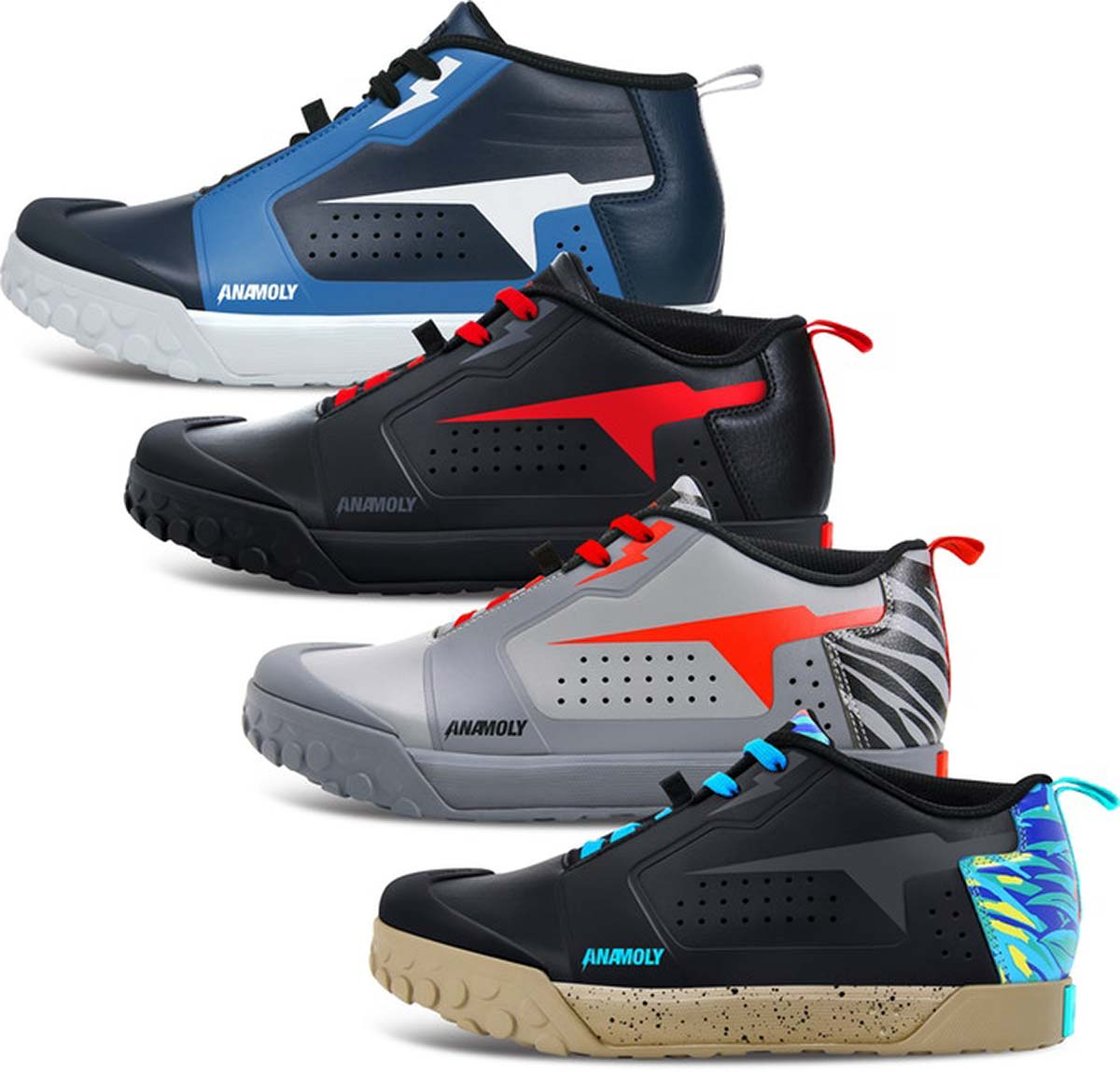anamoly mtb shoes for flat pedal four colorway options