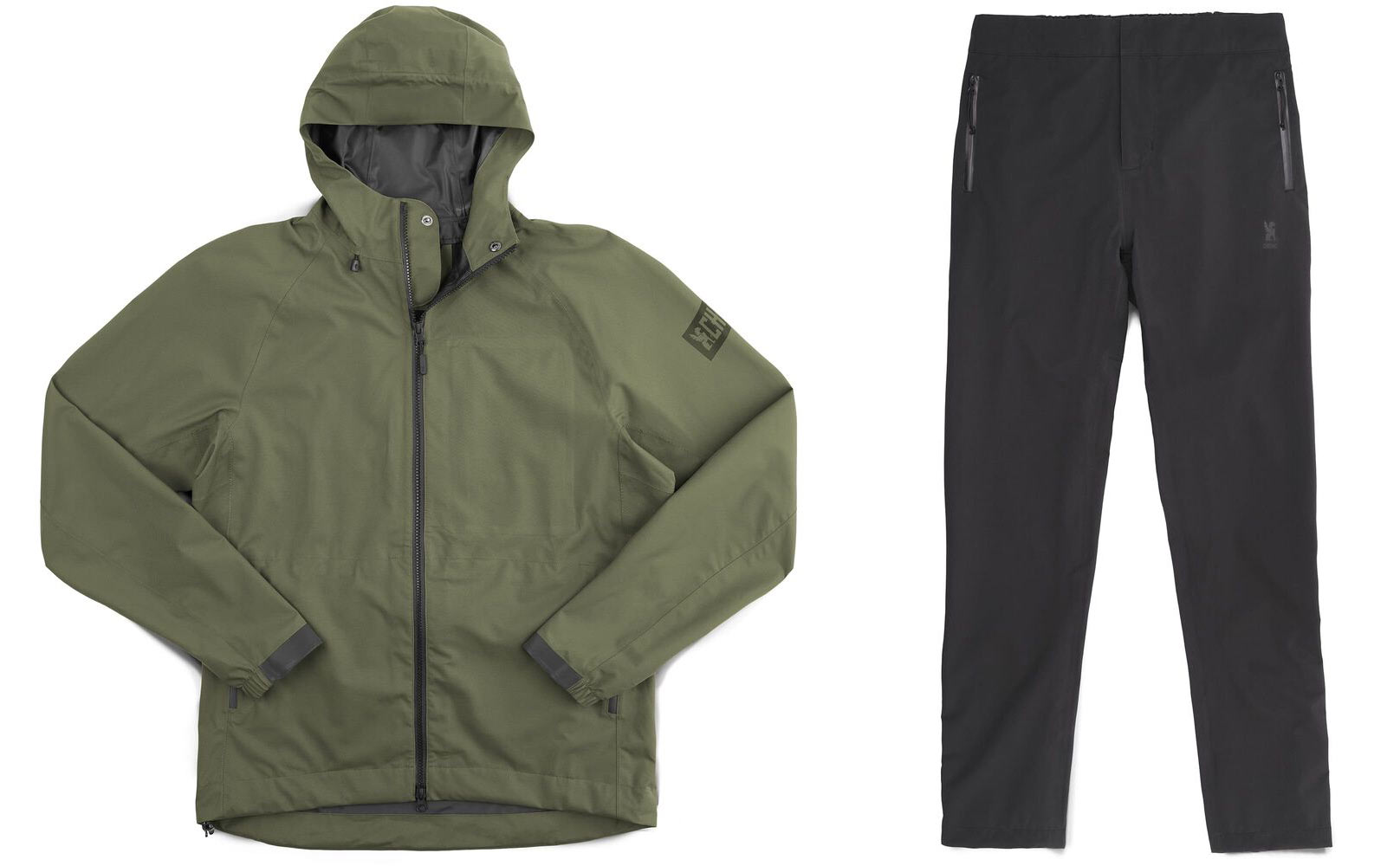 Chrome Industries storm rain pants and jacket for commuter cyclists