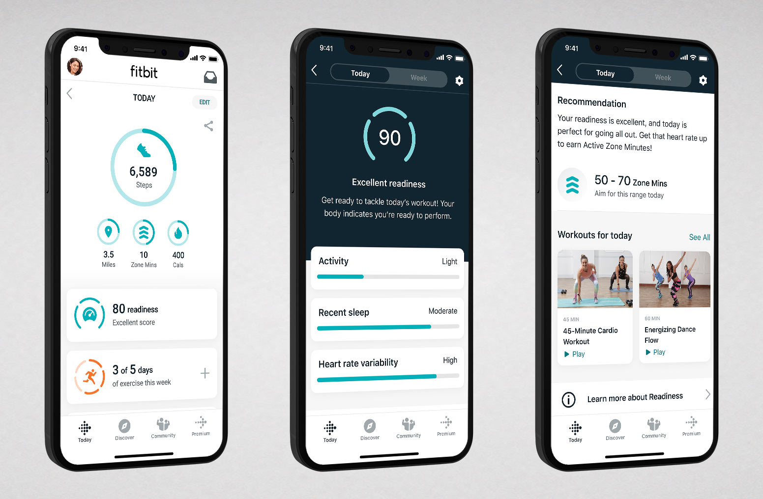 screenshots of new Fitbit Premium Daily Readiness Score that shows recommended workouts or recovery sessions like yoga