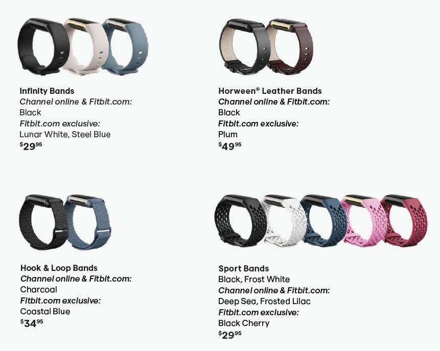 fitbit charge 5 watchband colors and options
