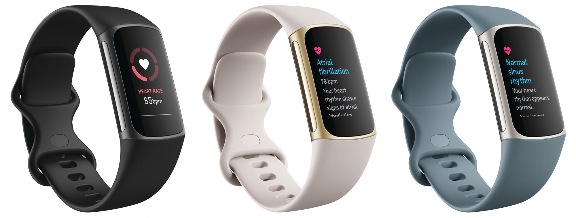 heart rate and heart health tracking screens on fitbit charge 5 fitness tracker