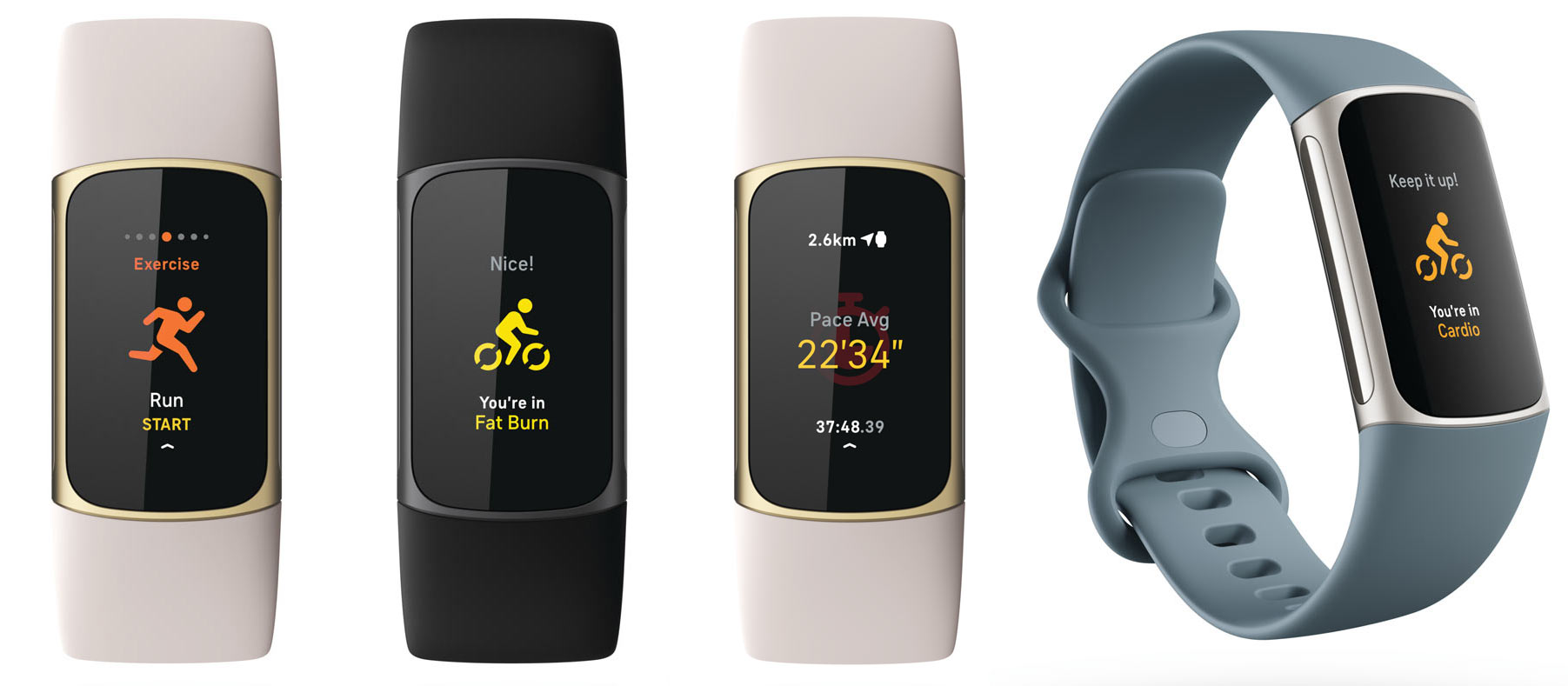 workout tracking screens on fitbit charge 5 fitness tracker