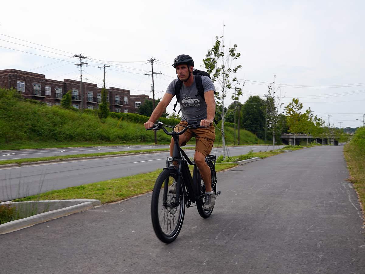 riding the kbo breeze e-bike on a bike path