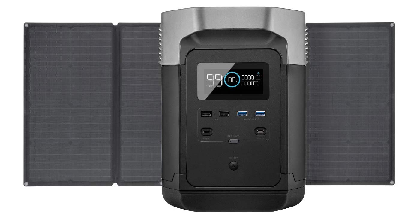 ecoflow delta battery backup power supply with solar panels