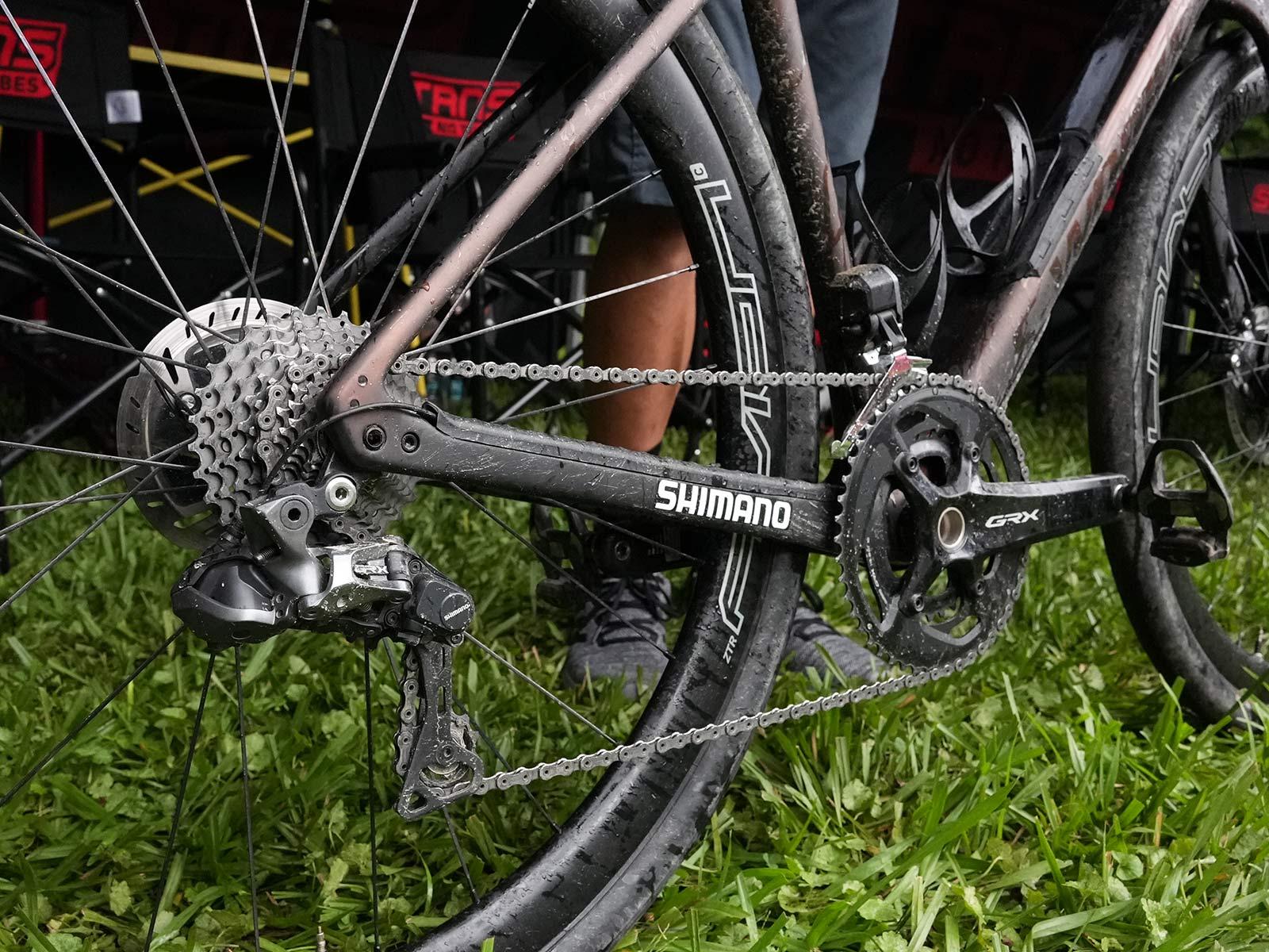 drivetrain details of CLIF Pro Team gravel race bike for russell finsterwald