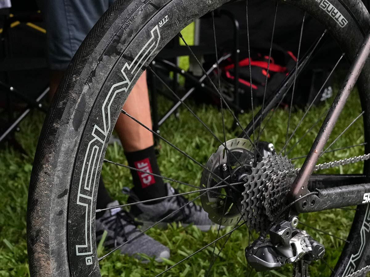 wheel and tire details of CLIF Pro Team gravel race bike for russell finsterwald