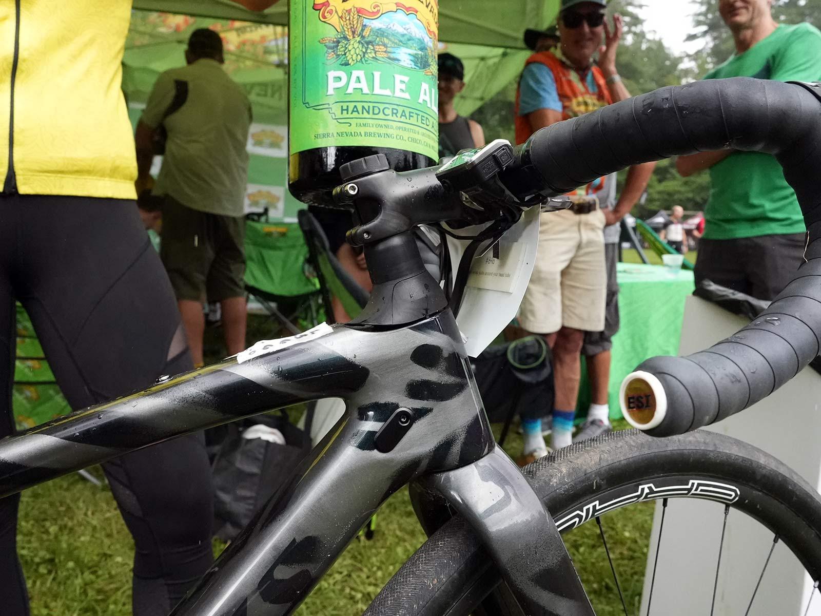 cockpit details of CLIF Pro Team gravel race bike for sofia gomez villafane