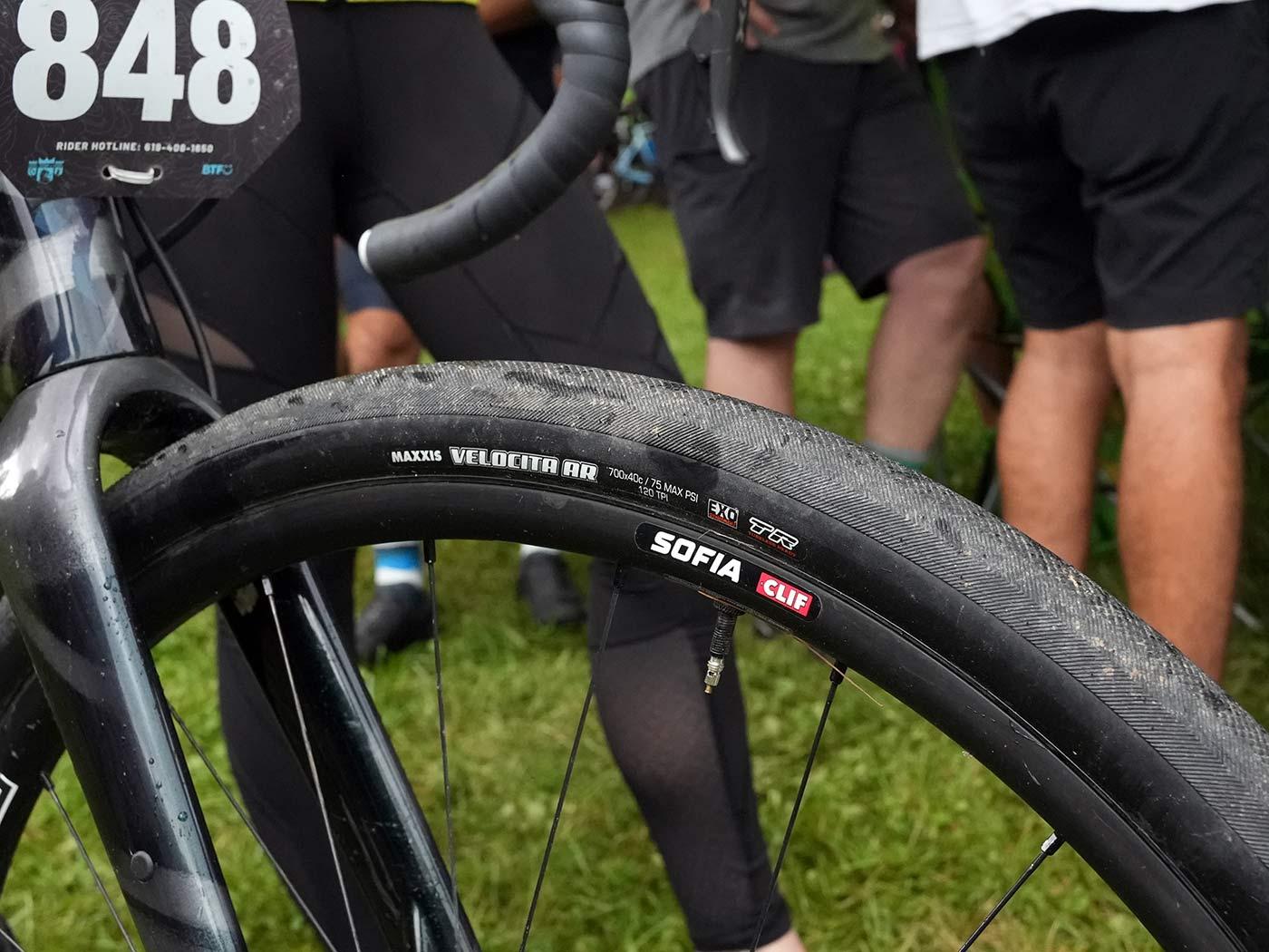 wheels and tires of CLIF Pro Team gravel race bike for sofia gomez villafane
