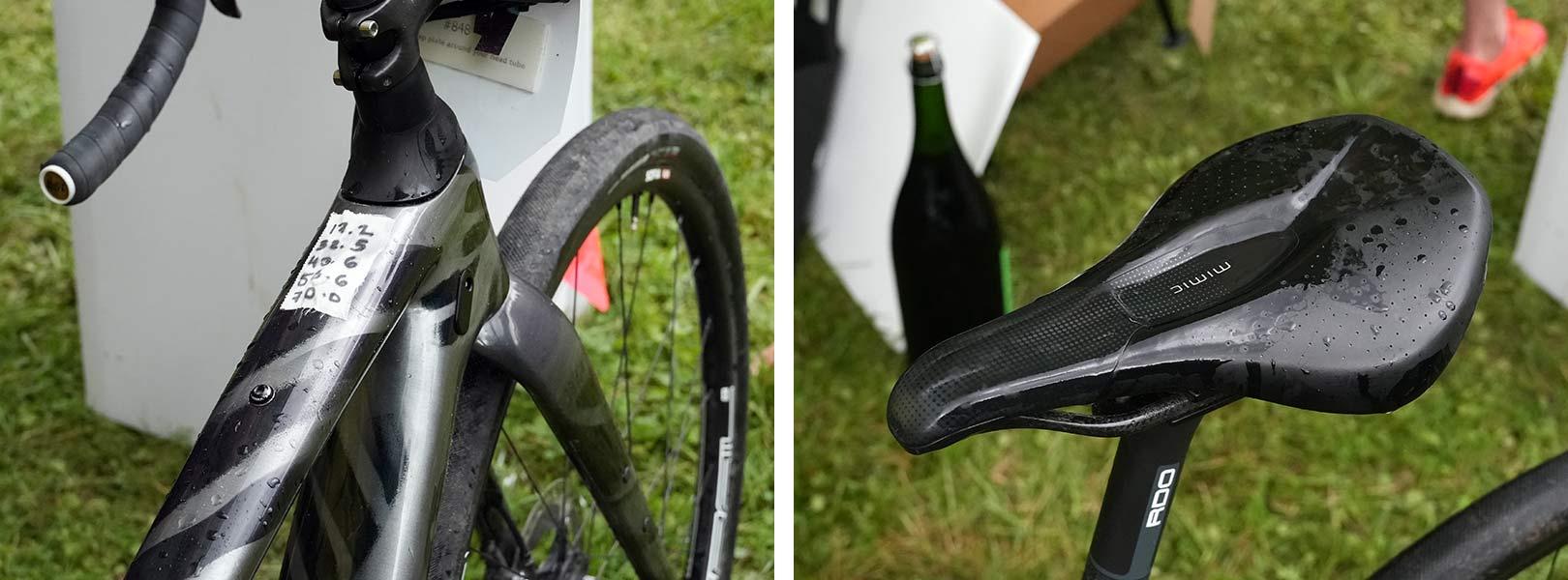 closeup details of CLIF Pro Team gravel race bike for sofia gomez villafane