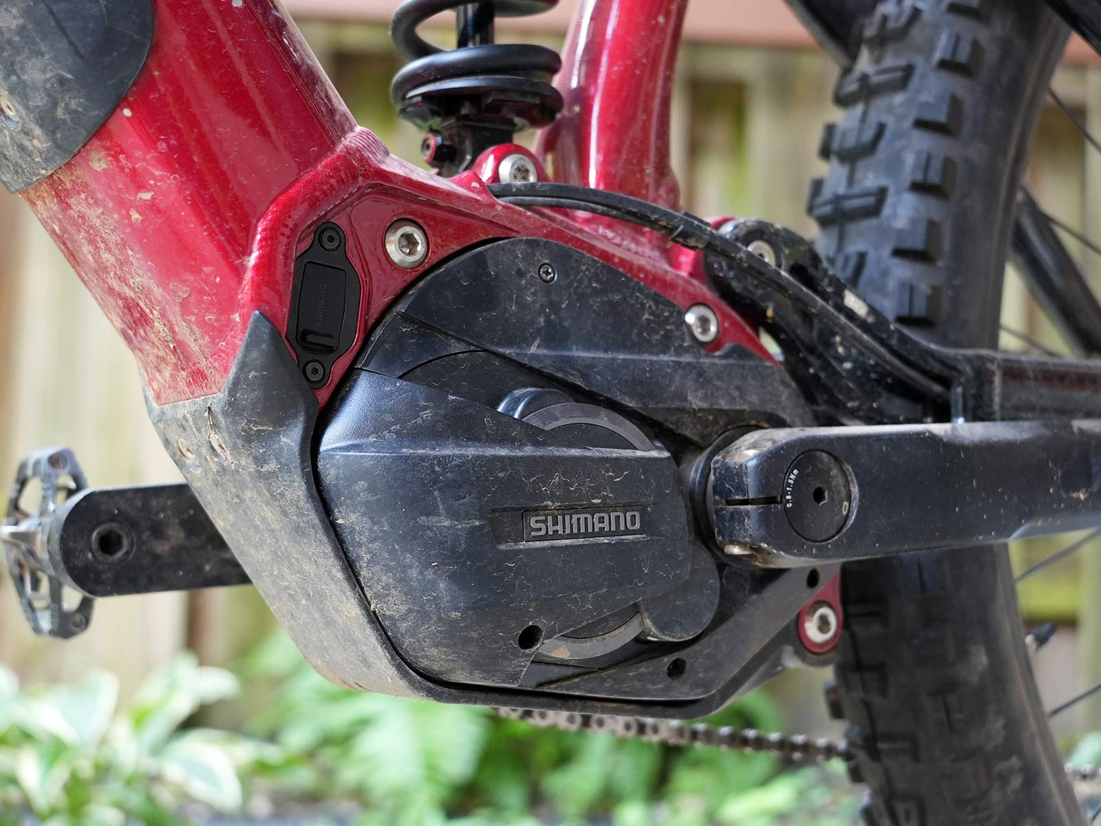 shimano e-bike motor with custom casing on a Marin eMTB